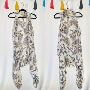 Plus Size Chiffon Floral Sleeveless Waterfall Vest